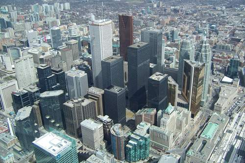 Toronto ontario from the look out level of the cn tower